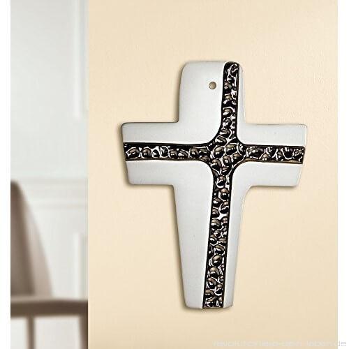Wandkreuz Metall Wandkruzifix gebogen matt mit poliertem Ornament 16 cm