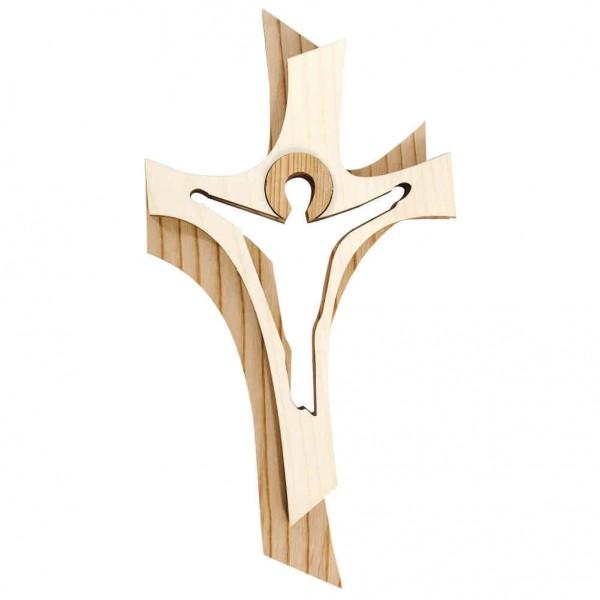 Holzkreuz / Auferstehungskreuz zweifarbig 18 cm