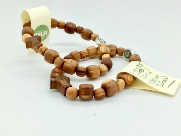 Armband aus Olivenholzperlen mit Taukreuz und Gummiband