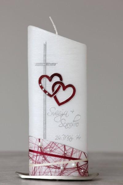 Hochzeitskerze - Kreuz und zwei Herzen