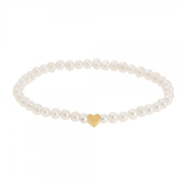 Perlenarmband mit Herz vergoldet