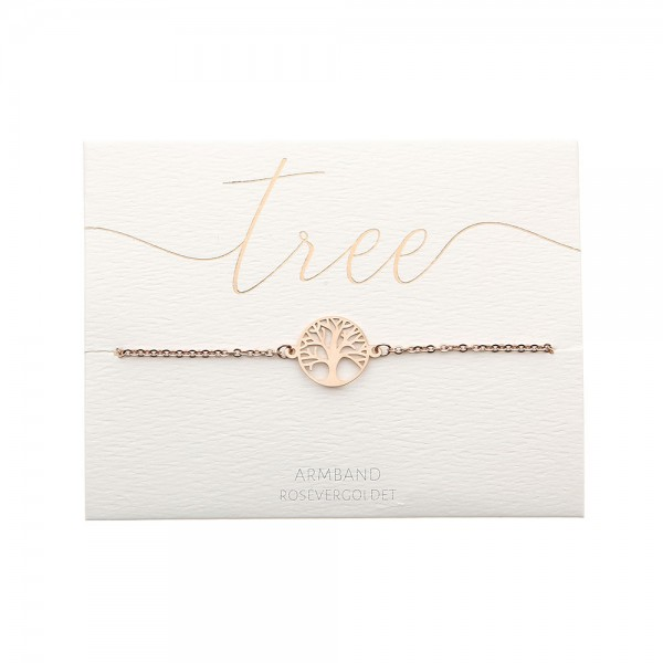 Edelstahlarmband Baum des Lebens rosévergoldet