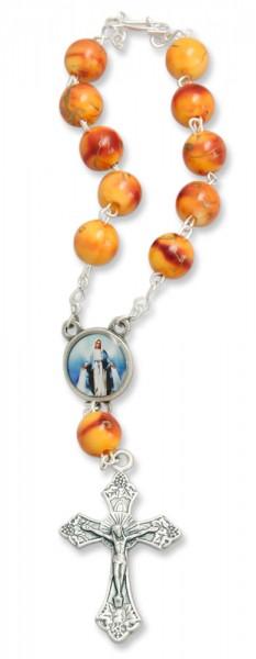 Zehner-Rosenkranz Orange marmoriert mit Christophorus-Symbol