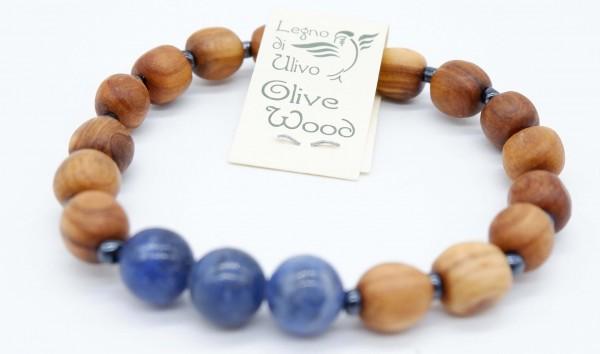 Armband mit Olivenholzperlen und hochwertigen Stein Blau