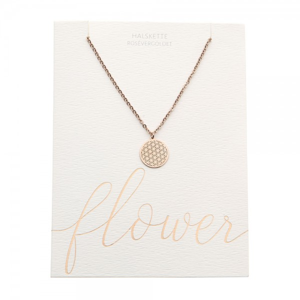 Edelstahlhalskette Blume des Lebens rosévergoldet
