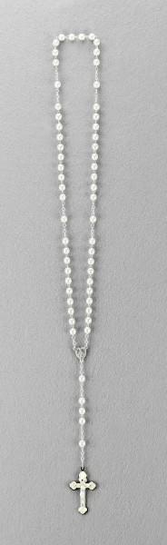 Rosenkranz mit Wachsperle gekettelt ca. 40 cm Weiß