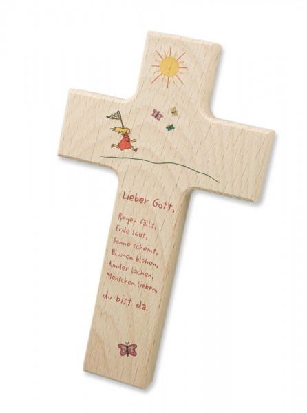 "Kinderkreuz ""Sonne"" Buche Natur 15 x 9 cm"
