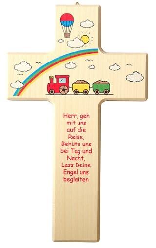 """Kinderkreuz """"Herr, geh mit uns auf die Reise"""" Ahorn Natur 20 x 12 cm"""
