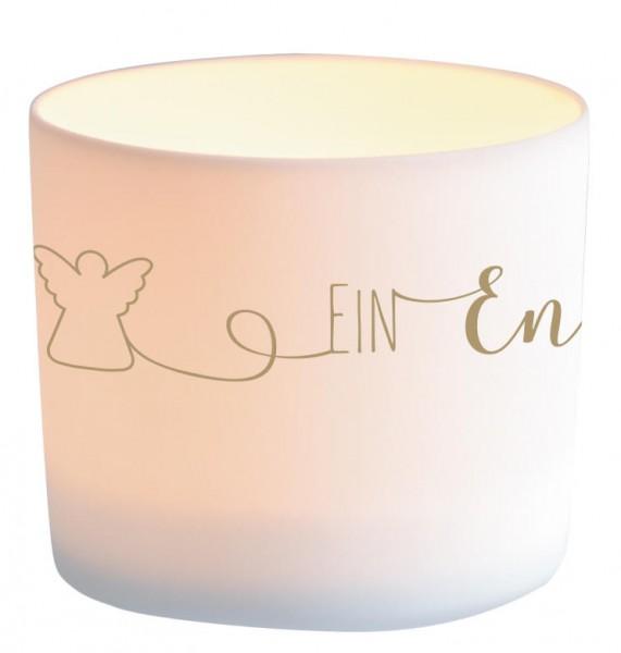 """LichterZeit Windlicht aus Porzellan """"Ein Engel für dich"""""""