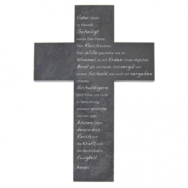 "Schieferkreuz ""Vater unser"" Grau 22 x 15 cm"