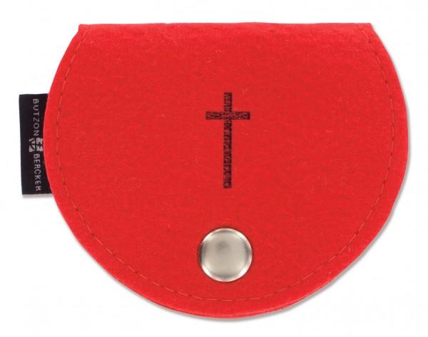 Rosenkranz-Etui Filz Rot 10 x 8 cm