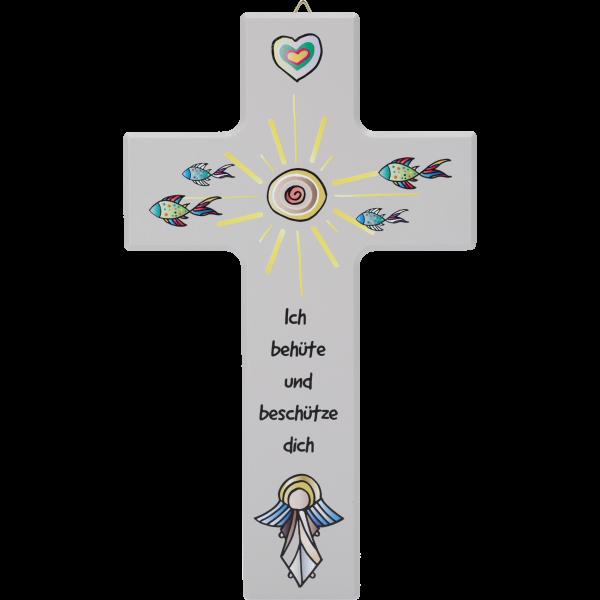 """Kinderkreuz """"Ich behüte und beschütze dich """" Ahorn Grau 20 x 12 cm"""