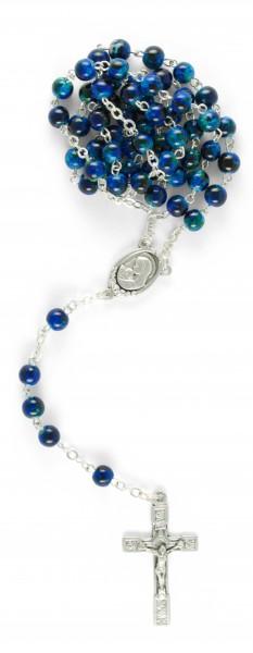 Rosenkranz mit Glasperle Blau 47 cm