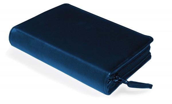 Gotteslobhülle mit Reißverschluß echtes Leder Blau