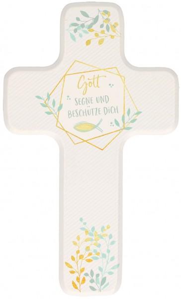 "Kinderkreuz ""Gott segne und beschütze dich"" Buche Weiß farbig bedruckt 18 x 11 cm"