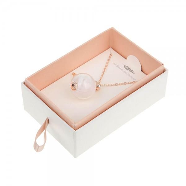 Halskette lang mit Engelsfeder Rosè