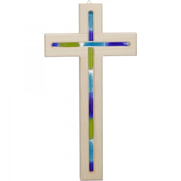 Holzkreuz Ahorn mit Fräsung und Glaseinlage blau 30 cm