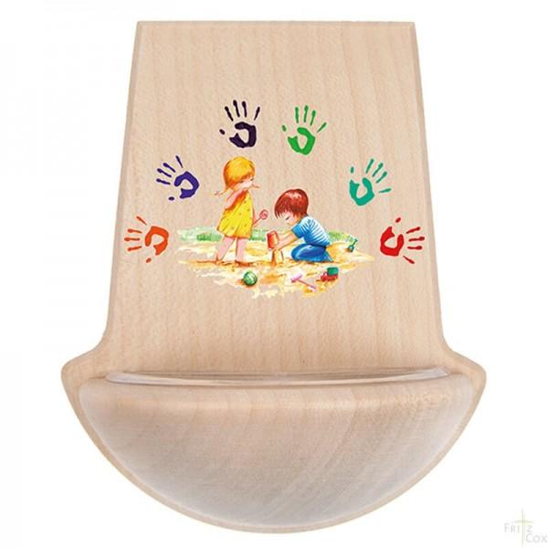 """Holz-Weihwasserkessel """"Gottes Hände"""" Ahorn natur 11 x 9,5 cm"""