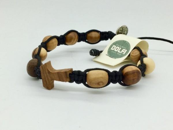 Armband mit zehn Olivenholzperlen und Tau-Kreuz