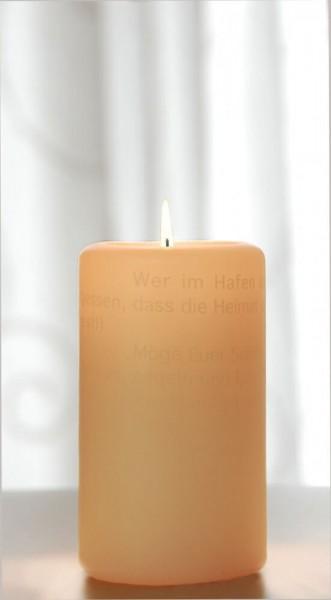 Wortlichtkerze Leuchtende Wünsche zur Hochzeit 140 x 70 mm