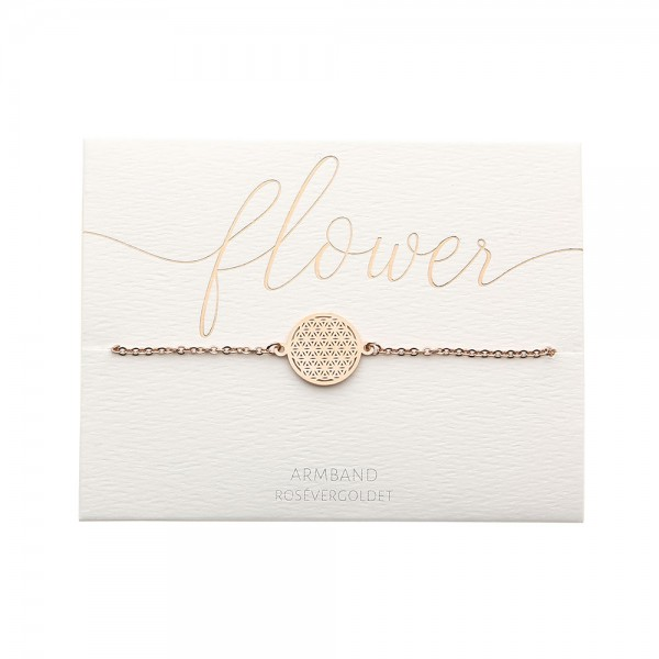 Edelstahlarmband Blume des Lebens rosévergoldet