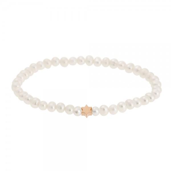 Perlenarmband mit Stern rosévergoldet