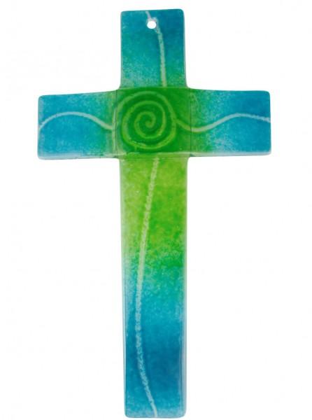 "Glaskreuz ""Spirale"" Türkis Grün 20 x 11 cm"