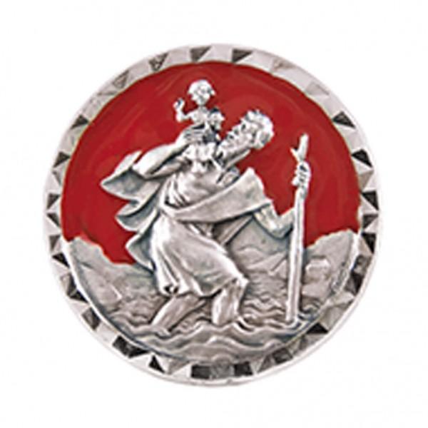 Autoplakette mit Christophorus-Motiv Rot