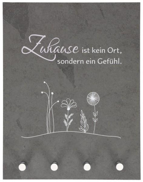 """Schlüsselbrett """"Zuhause ist kein Ort"""" Schiefer Grau 27 x 21 cm"""