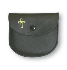 Rosenkranz-Etui mit goldenem Kreuz-Motiv Leder Schwarz 8 x 7 cm