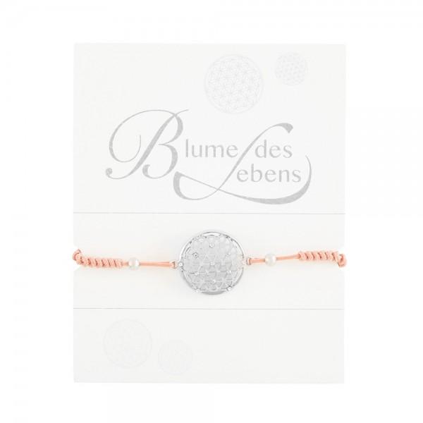 """Geknüpftes Armband """"Blume des Lebens"""" mit Strasssteinen und Perlen"""