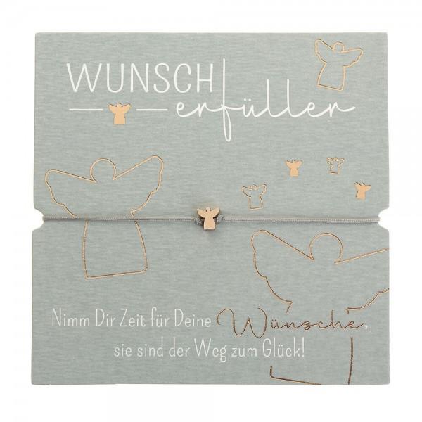 Armband-Wunscherfüller Schutzengel rosévergoldet Band grau