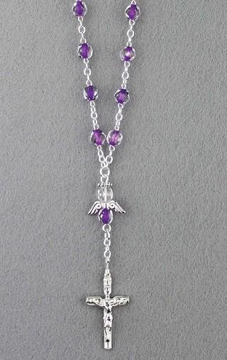 Zehner-Rosenkranz Lila mit Schutzengel und Verschluss