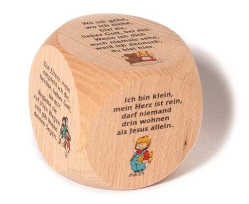 Gebetswürfel - Kindergebete Ahornholz 6 x 6 cm