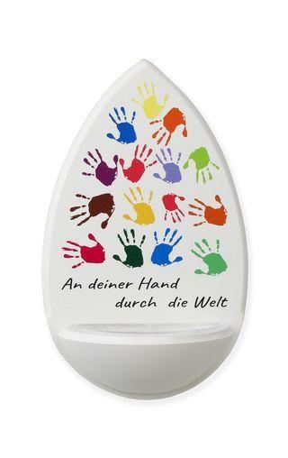 """Holz-Weihwasserkessel """"An deiner Hand"""" Ahorn Weiß ca. 15 cm"""