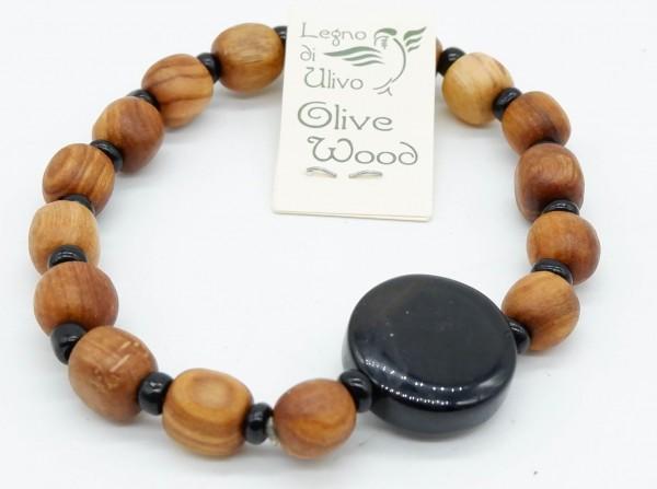Armband mit Olivenholzperlen und hochwertigen Stein Schwarz