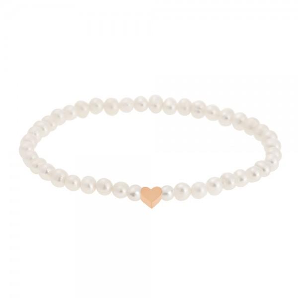 Perlenarmband mit Herz rosévergoldet