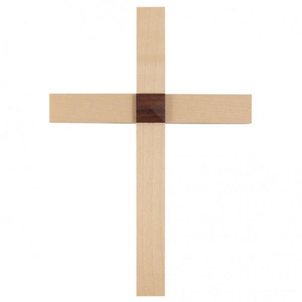 Holzkreuz aus Ahorn mit Nussbaumauflage 20 cm