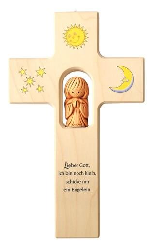 """Kinderkreuz mit Schutzengel """"Lieber Gott ich bin noch klein..."""" Ahorn Natur 20 x 12 cm"""