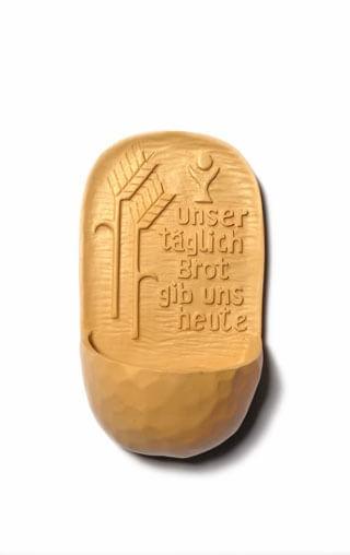 """Kunstharz-Weihwasserkessel """"Unser täglich Brot"""" Natur ca. 13 cm"""