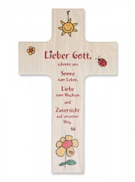"Kinderkreuz ""Sonne zum Leben"" Buche Natur 15 x 9 cm"