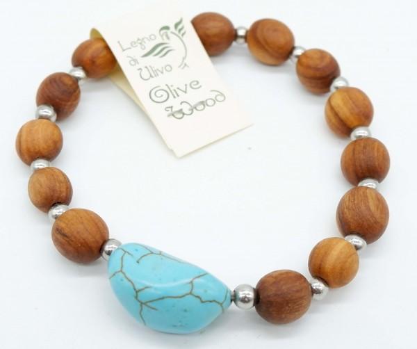 Armband mit Olivenholzperlen und hochwertigen Stein Türkis