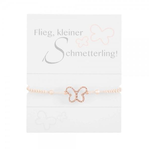 """Geknüpftes Armband """"Schmetterling"""" mit Strasssteinen und Perlen"""
