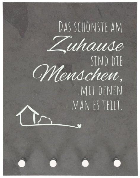 """Schlüsselbrett """"Das schönste am Zuhause"""" Schiefer Grau 27 x 21 cm"""