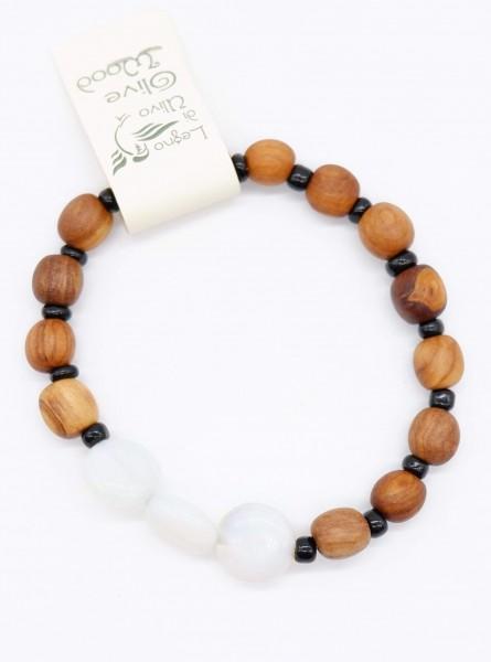 Armband mit Olivenholzperlen und hochwertigen Stein Weiß