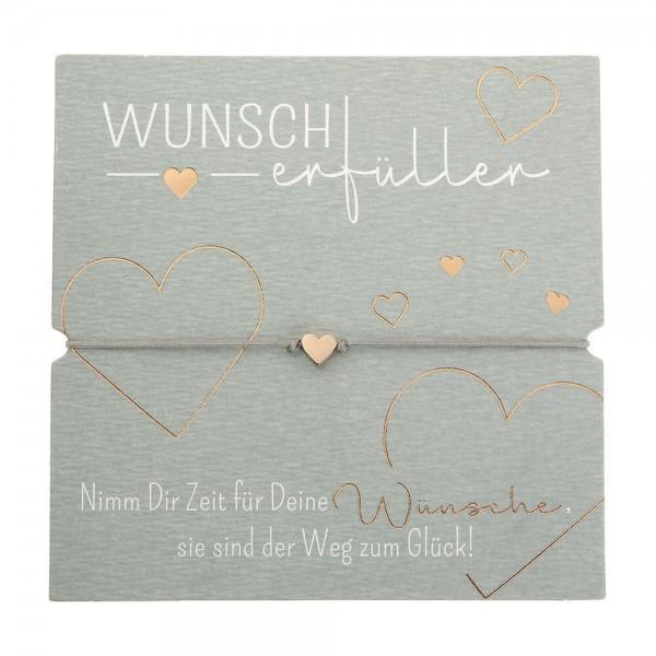 Armband-Wunscherfüller Herz rosévergoldet Band grau