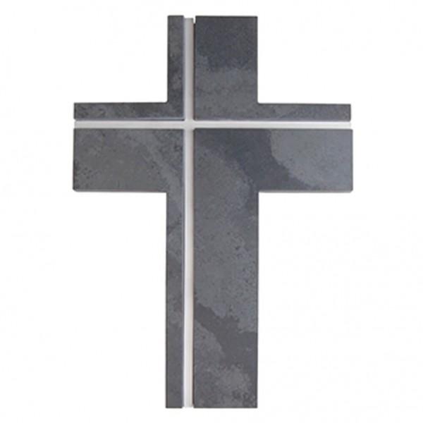 Schieferkreuz mit Edelstahleinlage Grau 22 x 15 cm