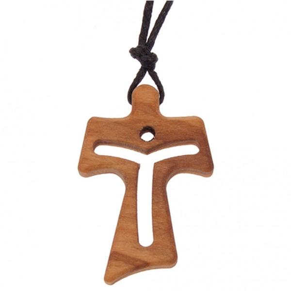 Halskette mit Tau-Kreuzanhänger durchgebrochen aus Olivenholz und Kordel 3 cm