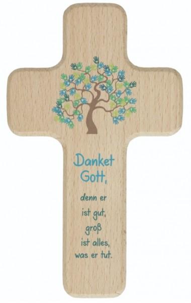 """Kinderkreuz """"Dankgebet"""" Buche Natur 18 x 11 cm"""