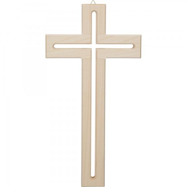 Holzkreuz Ahorn mit Fräsung 30 cm